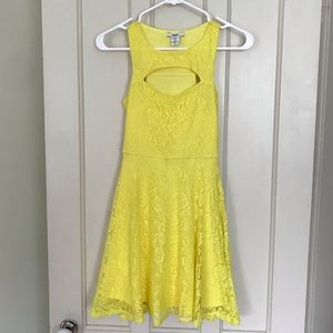 Bar III Yellow Lace Bust Keyhole Fit & Flare Dress